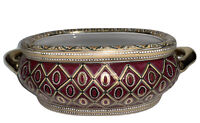 Decorative Bowl Burgundy & Gold by Oriental Accents. Vintage China.