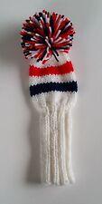 "White/Navy/Red 9.5"" Hand Knit Golf Club Head-Cover putter, hybrid, fairways"