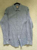 Hugo BOSS ORANGE - Casual Shirt - Blue with stripe SLIM FIT  - Size XL