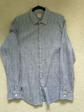 Hugo BOSS ORANGE - Casual Shirt - Blue with stripe SLIM FIT  - Size XL