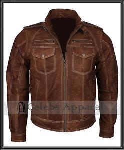 Mens Brown Bomber Vintage Biker Distressed Leather Jacket chaqueta motorradjacke
