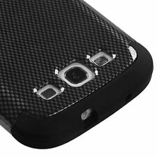 For Samsung Galaxy SIII S3 HARD&SOFT RUBBER HYBRID ARMOR CASE BLACK CARBON FIBER