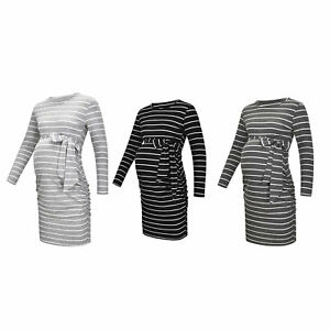 Maternity Pregnant Women Dress Casual Clothes Striped Long Sleeves Round Collar