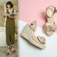 Womens Chic Suede Leather Bowtie Ankle Strap Espadrille Wedge Sandals Shoes MOON