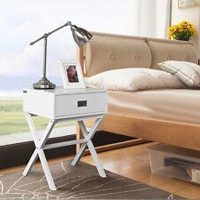 SoBuy® Comodino da notte, Tavolino da divano,con cassetto,bianco,FRG174-W,IT