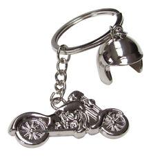 Porte-clés moto et casque en acier argenté chromé, biker, motard.