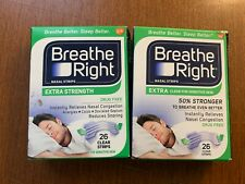 BREATHE RIGHT EXTRA STRENGTH CLEAR STRIPS 26/CT LOT OF 2. 52 TOTAL