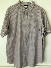 COLUMBIA Mens Red/White/Blue Plaid Short Sleeve  Button  Front Shirt Size Large