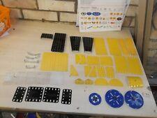 Meccano Yellow, Black, Blue & Zinc Parts - Plates, Flexi's, Pulleys & Plastic