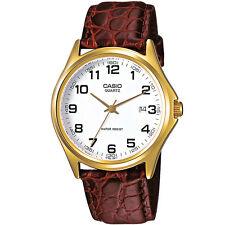 Casio reloj hombre mtp-1188pq-7b reloj pulsera de cuero marrón blanco fecha watch nuevo & OVP