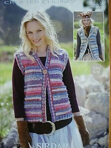 SIRDAR 9335 - LADIES CHUNKY WAISTCOATS KNITTING PATTERN 32/54in - LARGER SIZES