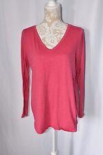 Motherhood Maternity Womens Large Pink V-Neck Long Sleeve Shirt Top