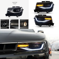 New Front LED Projector Headlights Pair For 2014-2015 Chevrolet Chevy Camaro