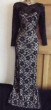 EXQUISITE ❤️ JANE NORMAN Size 12 14 Vintage Black Long Lace Dress Ballgown