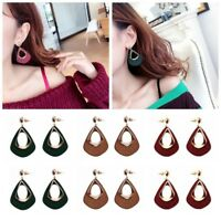 1 Pair Women Geometric Wood Hollow Dangle Drop Ear Stud Earrings Jewelry