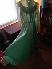 Vintage 50's Dress Mint Green Nylon Chiffon Large 10-12 HALLOWEEN COSTUMES w/WIG