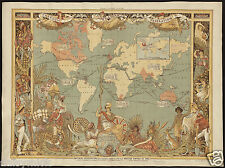 Map Of The British Empire 1886 Reprint 10x8 Inch