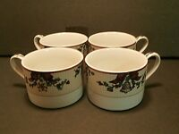 Fitz And Floyd Santa's List Flat Coffee Cups Christmas Holly Bows Bells-Lot of 4