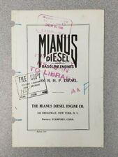 1925 Mianus Diesel & Gasoline Engine Sales Folder