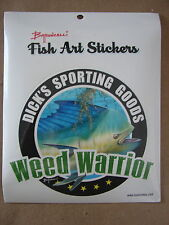 "Dick's Sporting Goods Weed Warrior Decal approx 5"" x 5 1/2"" Baroncelli Fish Art"