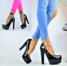 Sexy Zapatos Mujer Lujo Fiesta de Tacón Plataforma Bloque Tacones Altos Negro