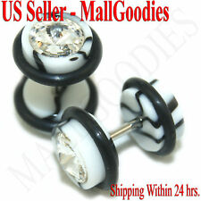 1161 Fake Cheaters Illusion Faux Ear Plugs 16G Bar Look 0G White Marble Clear CZ