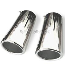 2x 70mm Chrome Car Straight Tail Exhaust Pipe Tip End Trim Racing Sports Muffler
