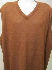 NEW 4XLT 4XT 4X TALL 100% GENUINE Un-Dyed ALPACA V-NECK Sweater VEST BROWN $150