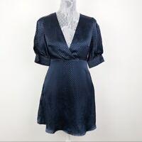 Zara Navy Blue Polka Dot Satin V Neck Short Sleeve Dress Size Small