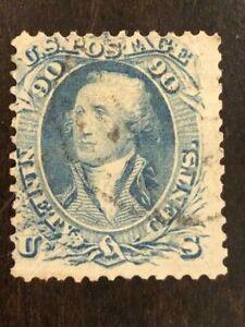 US Stamp Scott #72 90c Blue Washington w/ Light Cancel SCV - $600