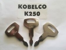 (3) Kobelco Excavator, Heavy Equipment Keys OEM Logo K250 fit Case, Kawasaki.