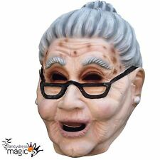 Adult Scary Old Woman Grandma Fancy Dress Full Latex Head Halloween Granny Mask