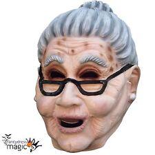 Adult Scary Old Woman Grandma Fancy Dress Full Latex Head Halloween Granny Mask