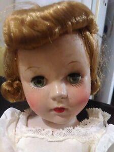 "Unmarked ""Sweet Sue"" (?) Bride Doll 15"" 1950s (?) Original Dress"