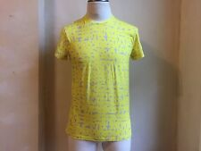 JIL SANDER COOL YELLOW GREY LOGO SIGNATURE ALL OVER PRINT CREWNECK T SHIRT S M