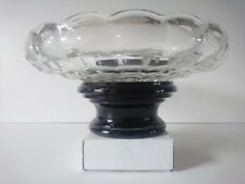 Unusual Large Pressed Clear Glass Bowl On Black Glass Stand. Antique Or Vintage