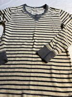 J Crew Boat Neck Cotton Striped Top Women's Long Sleeve Sz M Euc