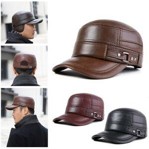 Men's 100% Genuine Leather Hat  Full Grain Winter Warm Cowhide Baseball Cap Hat