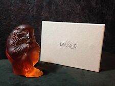 "Lalique Large Amber Chimpanzee Monkey Chita With Original Lalique Box 5"" Tall"