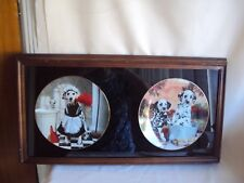 Vintage 1995 & 1996 The Hamilton Collection Wood & Glass Framed Plates Dalmatian