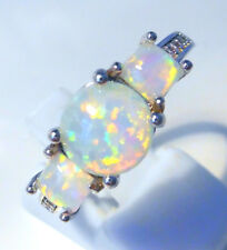 "GORGEOUS WHITE  FIRE OPAL  RING UK Size ""N"" US 7"