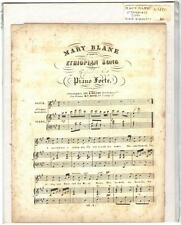 Rare Antique Original VTG 1850 Mary Blane Ethiopian Song Piano Sheet Music Print