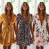 Lady Sexy Deep V-Neck Short Sleeve Boho Floral Printed Summer Casual Mini Dress