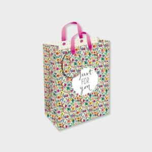 Mother's Day Gift Bag - Just For You Flowers - Medium 24cm x 20cm Quality NEW