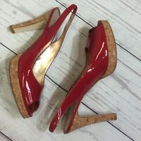 Jessica Simpson Amy Size 9B Red Patent Leather Peep Toe Cork Heels