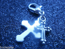 10 Silver Tone Double Cross Clip on Charms for Bracelets / Jewellery  Wholesale