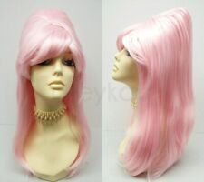 60s Beehive Light Pink Wig Long Straight Costume Retro Cosplay Groovy