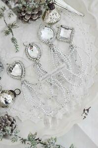 Anhänger Baumschmuck Adventsdeko Acrylglas Quaste Weihnachten Shabby Chic 4erSet