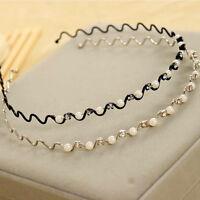 Elegant Women Bling Crystal Pearl Wave Hairband Headband Wedding Hair Jewelry