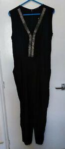 NWT Rock & Revival Tanya Jumpsuit Navy embellished neckline side pockets UK 14